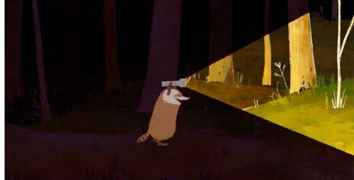 raccoon ant the light